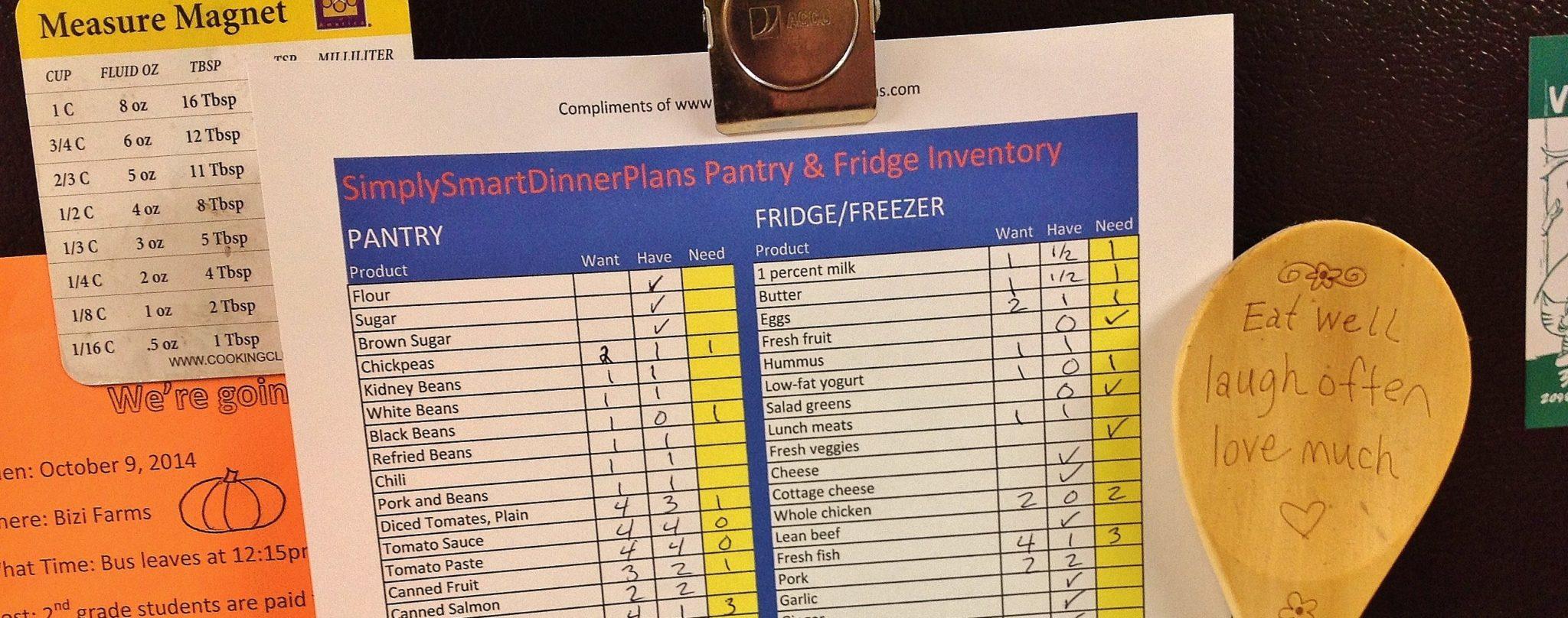 food inventory sheet printable