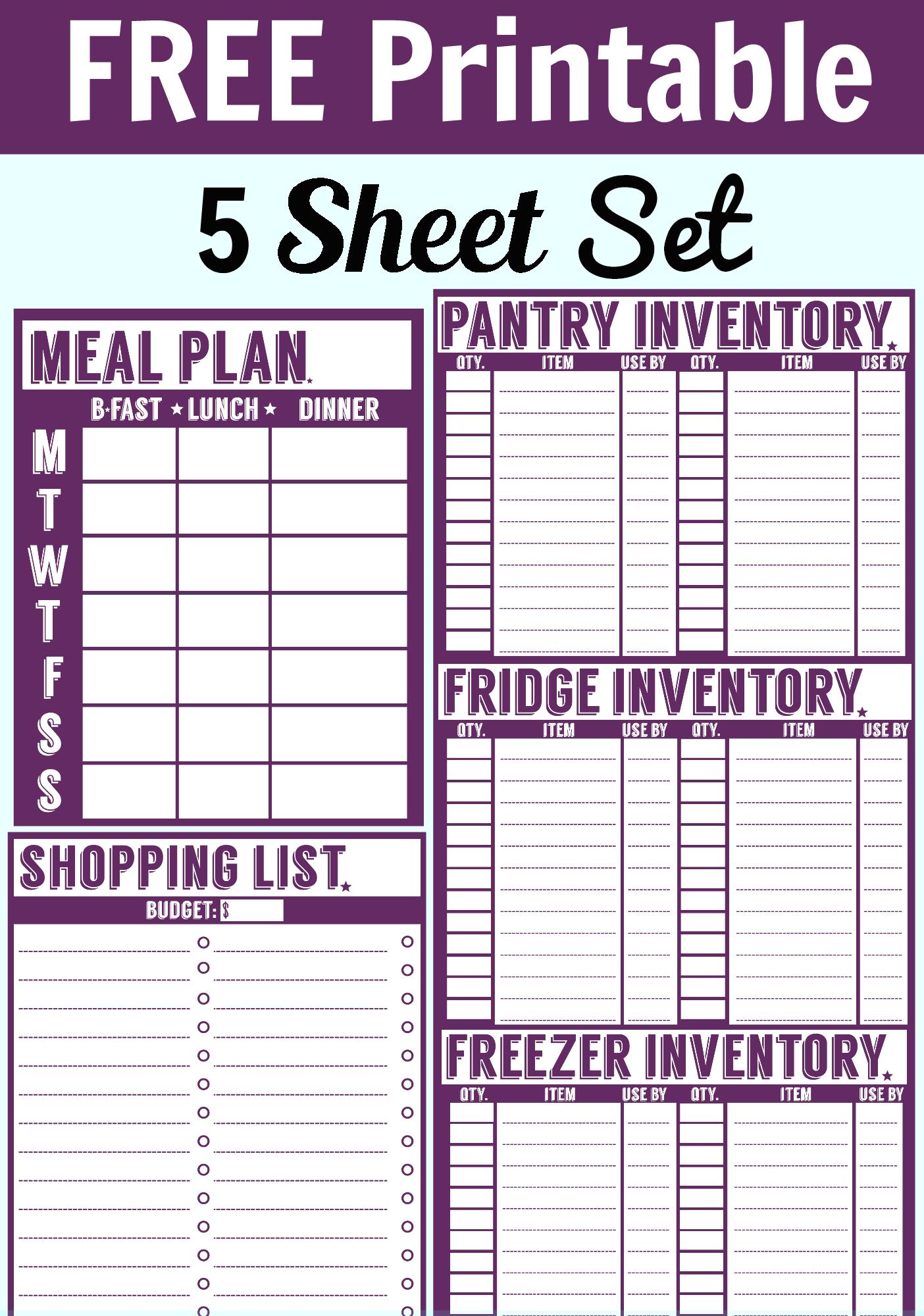 food storage inventory chart
