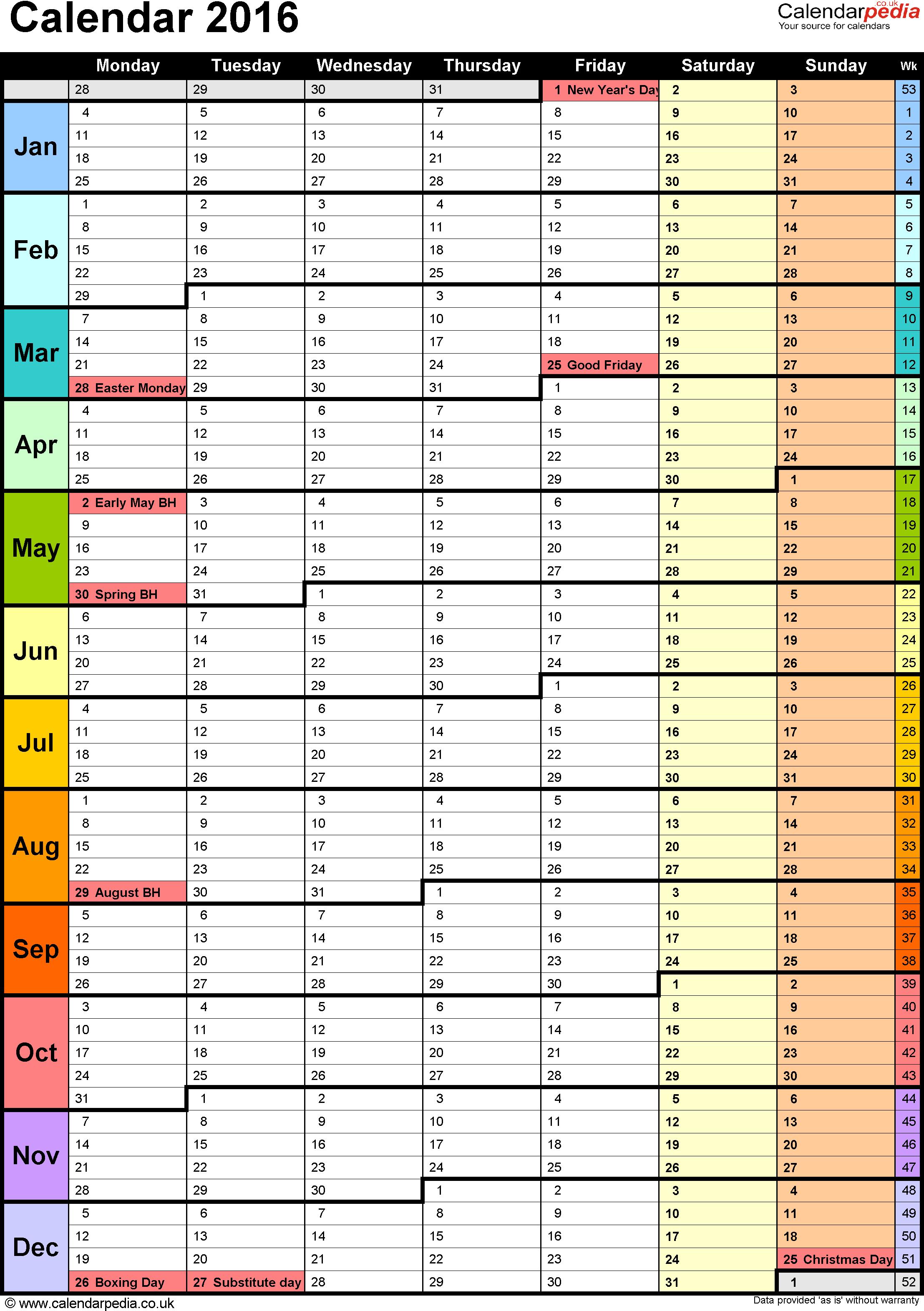 Google Sheets Calendar Template 2018