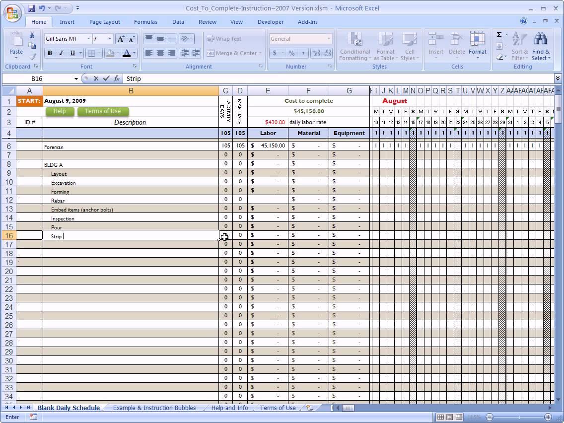 new construction budget spreadsheet