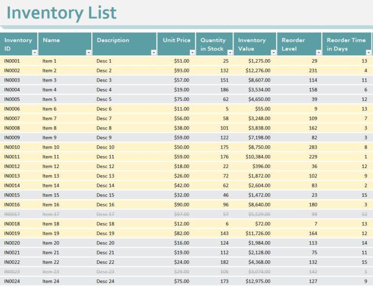 stock excel sheet download
