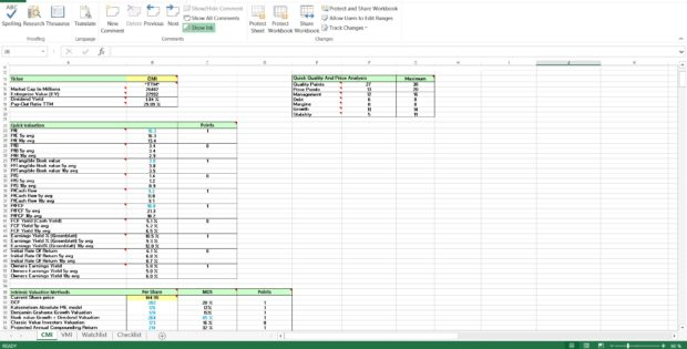stock analysis spreadsheet template