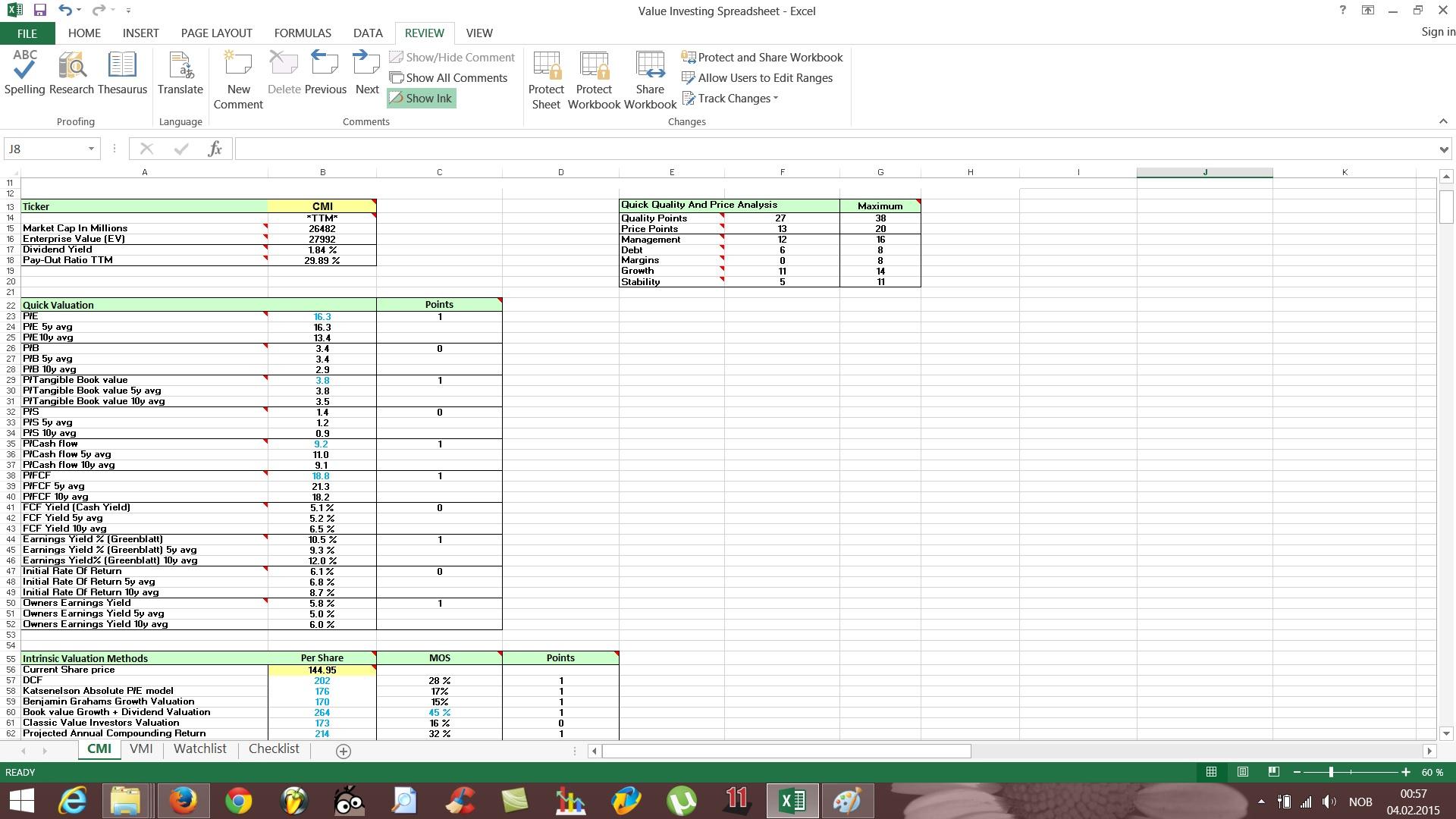 Stock Fundamental Analysis Spreadsheet Templates Free