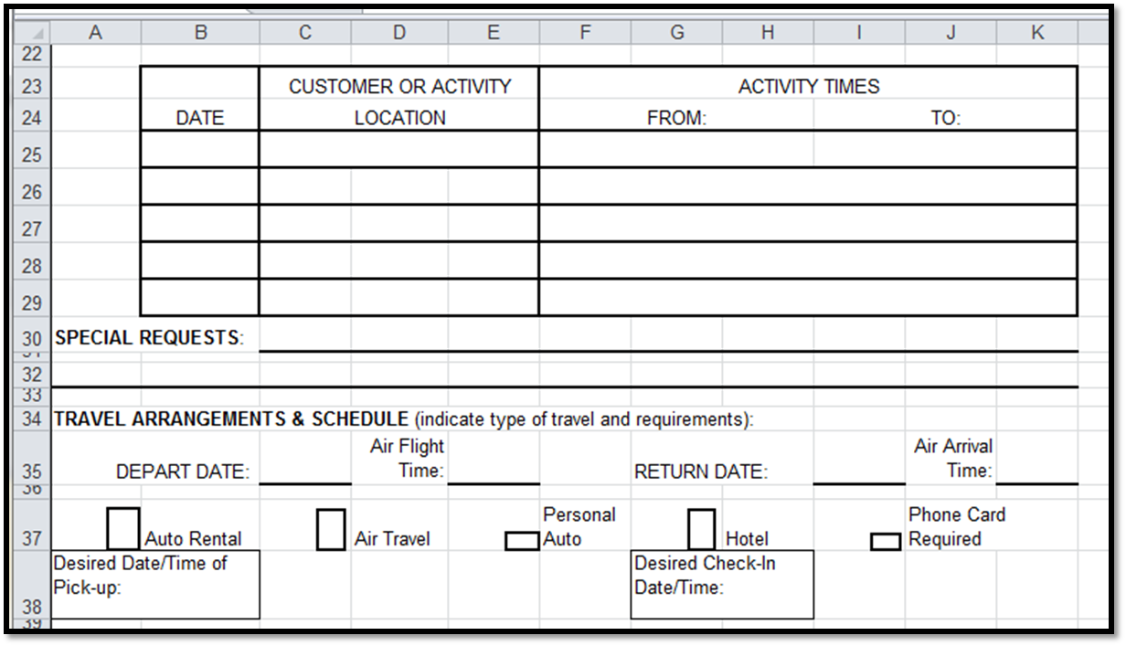 Travel Spreadsheet Excel Templates Free