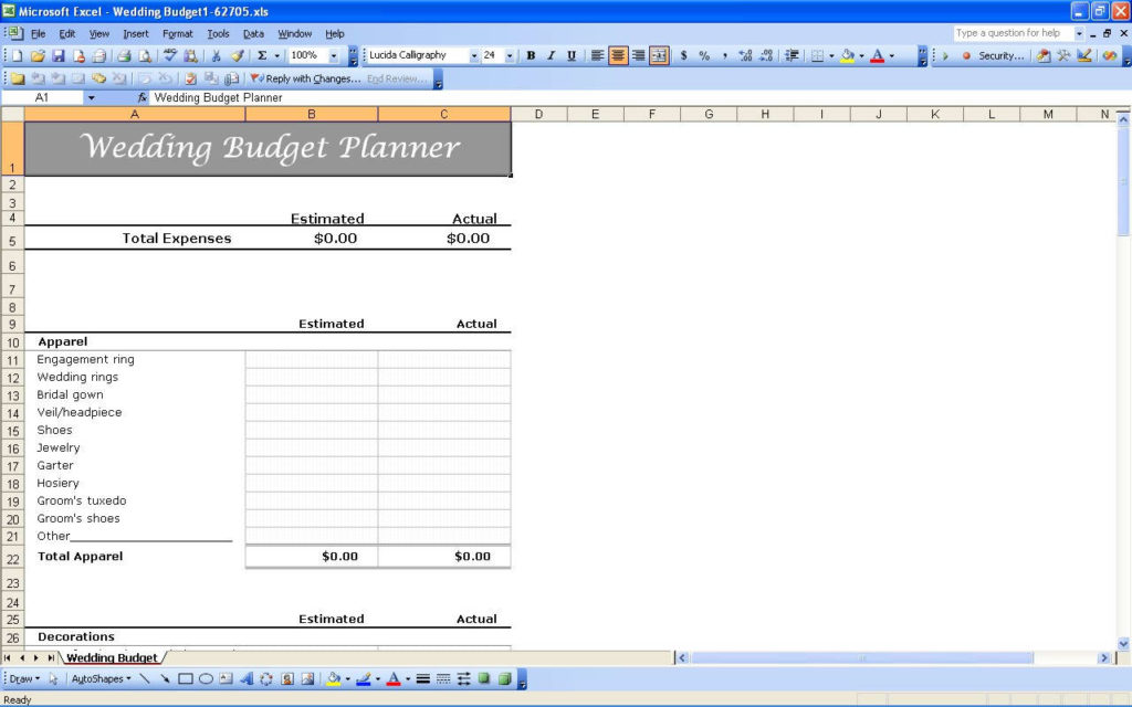 wedding cost estimator spreadsheet
