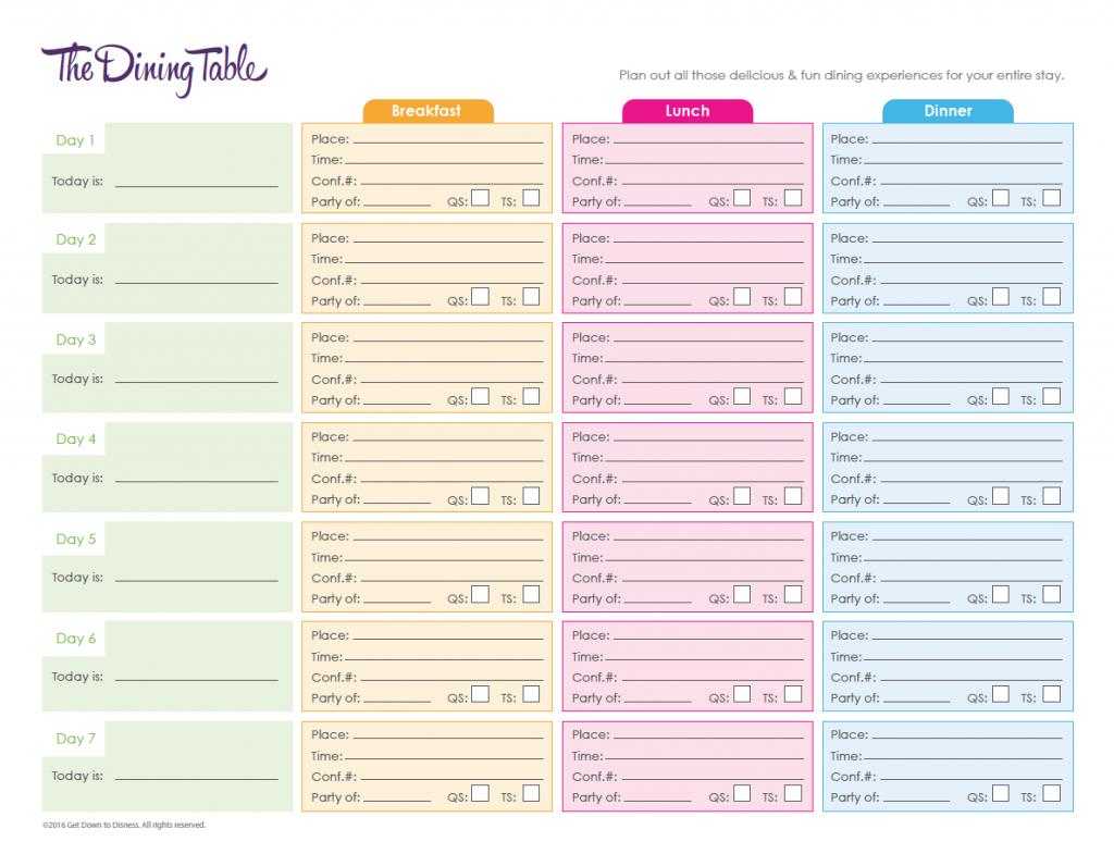 Walt Disney World Planning Spreadsheet