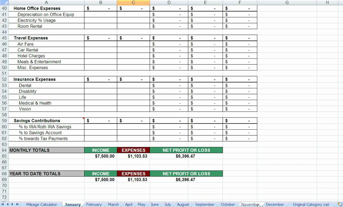 Expenses worksheet excel