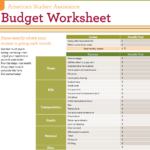 free student budget spreadsheet