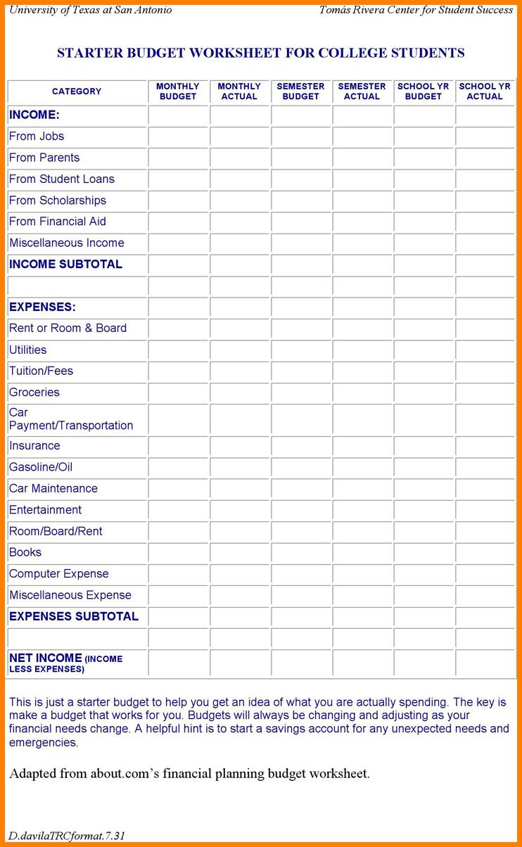 Budget Worksheet For Students 005 - Budget Worksheet For Students