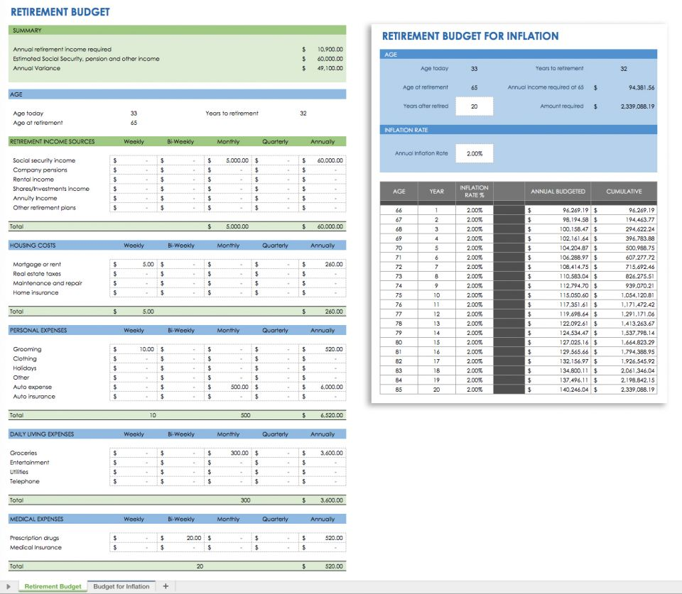 retirement budget planner worksheet