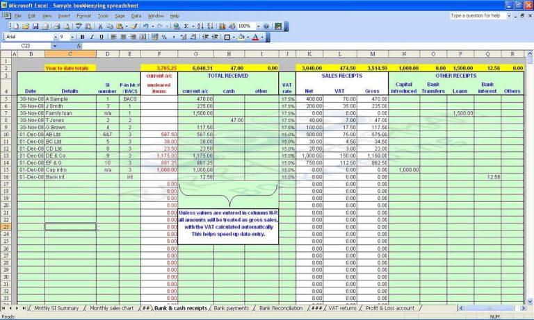 sole trader accounts templateself employed expenses spreadsheet