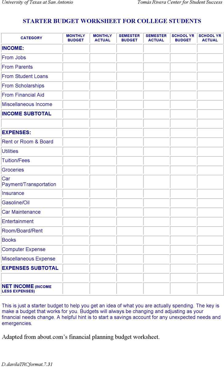 Worksheets Budgeting Worksheets For Students budget college twenty hueandi co