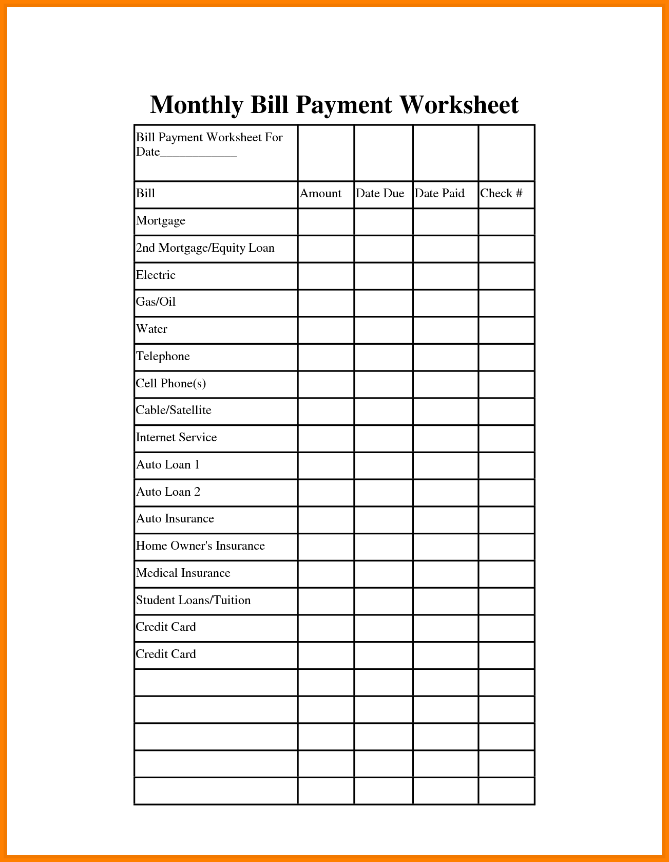 template for paying monthly bills haci saecsa co