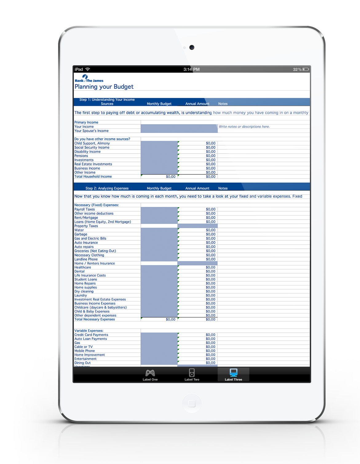 Budget Spreadsheet For Ipad