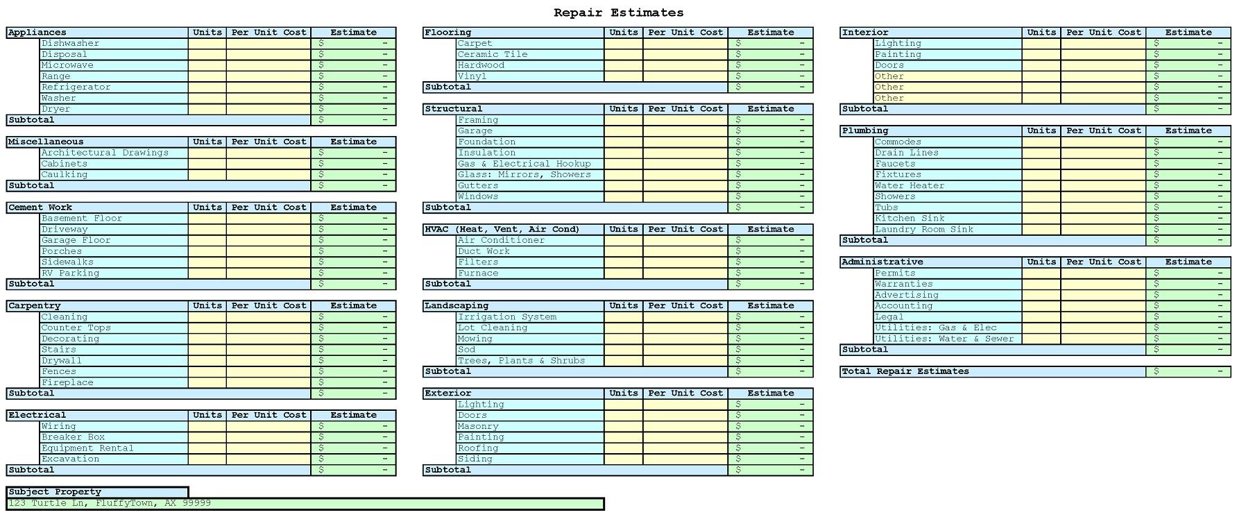 Construction Estimating Excel Spreadsheet