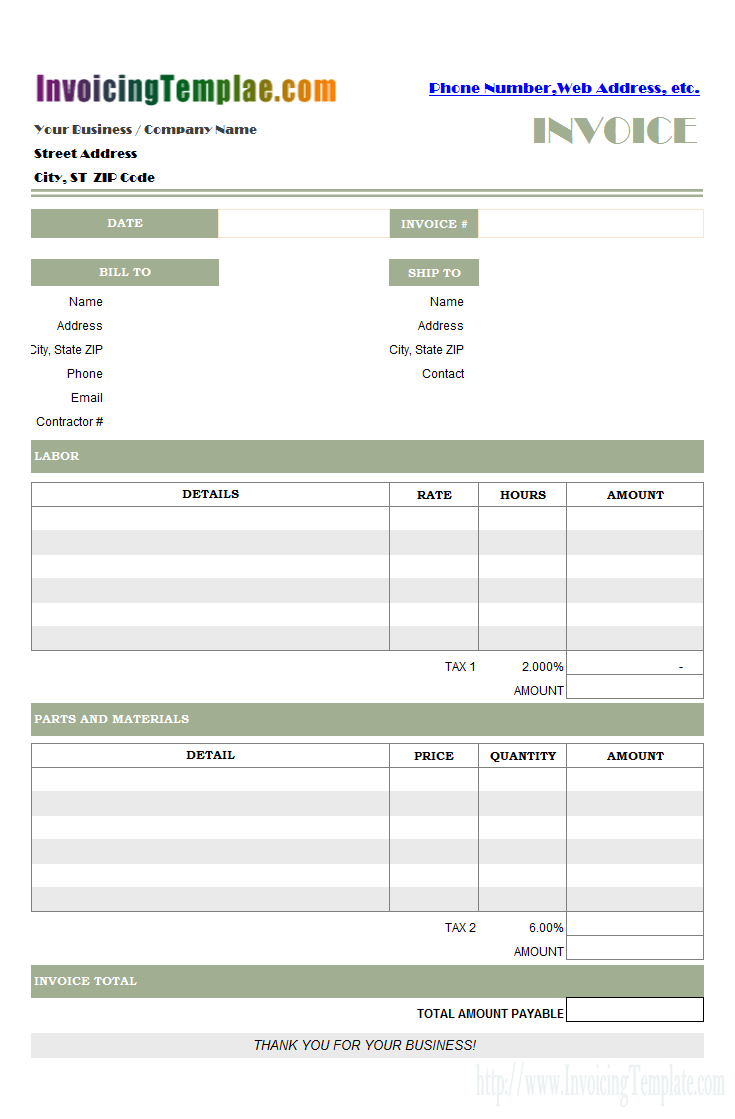 Templates Create Invoices From Excel Spreadsheet