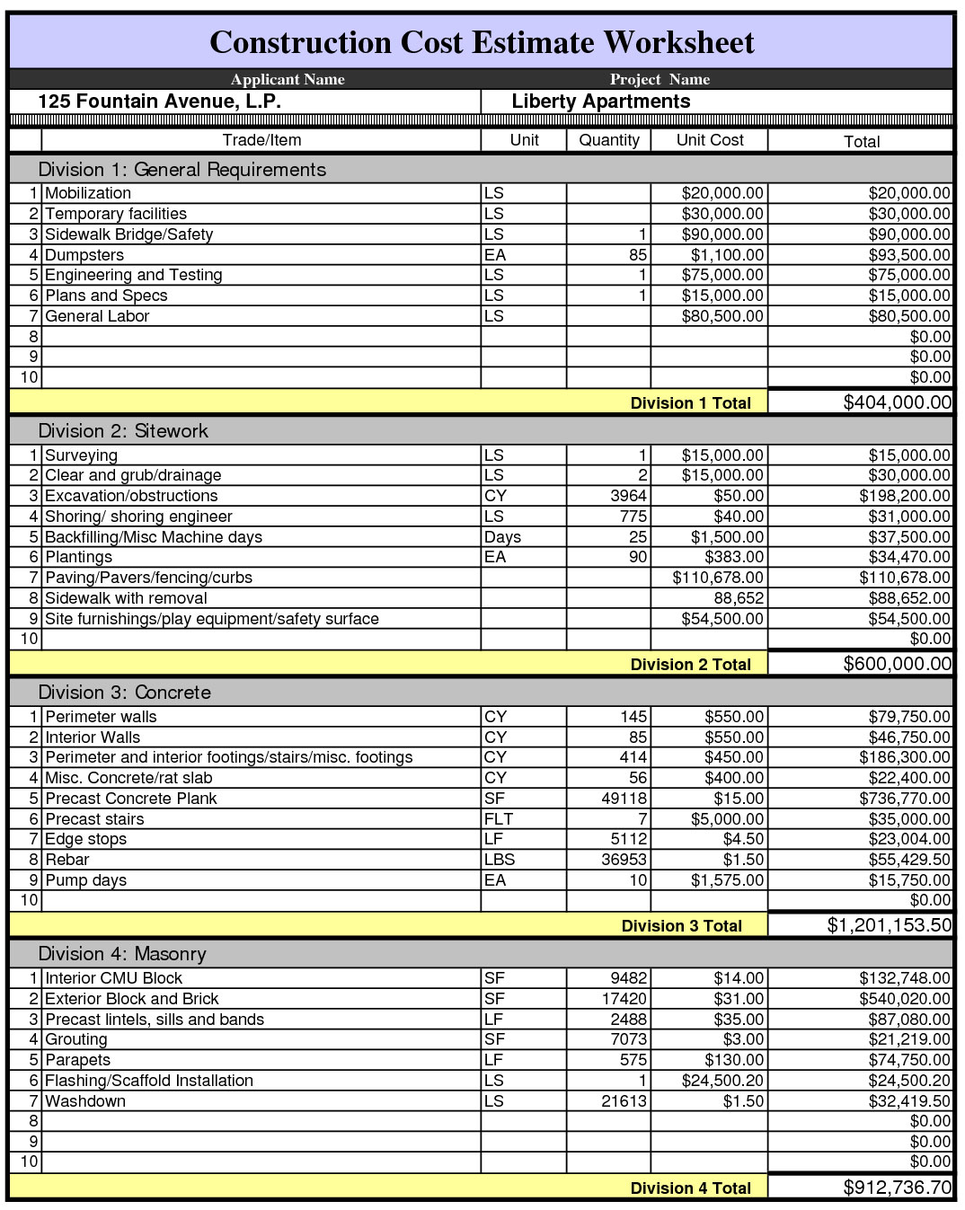 construction estimating spreadsheets freeware