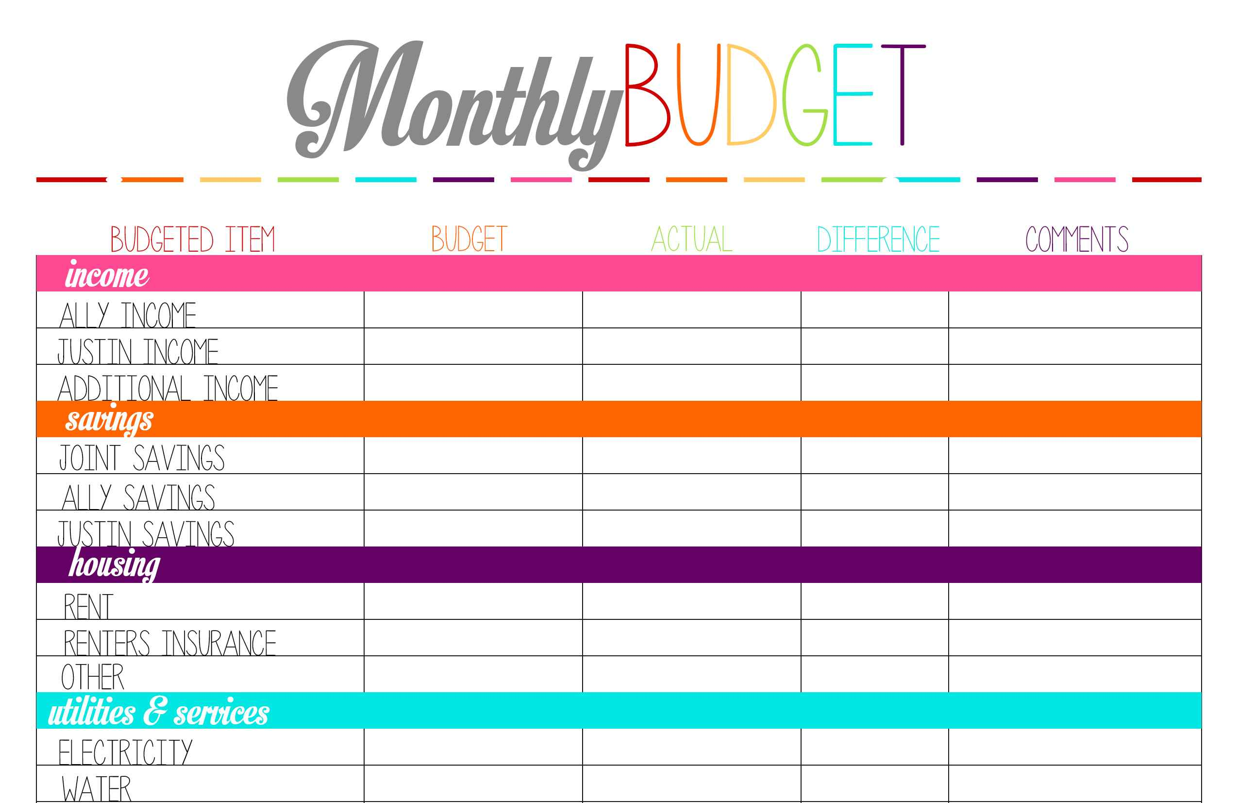 free Budget Spreadsheet For Ipad