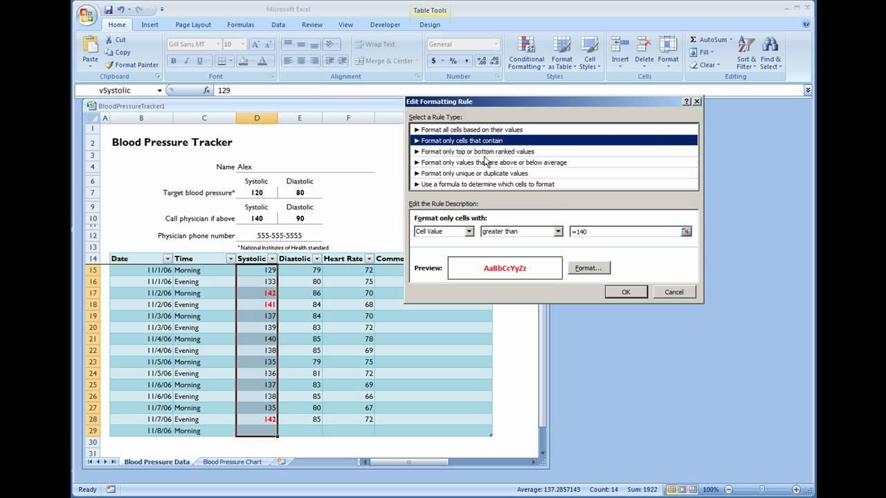 free blood pressure tracking spreadsheet