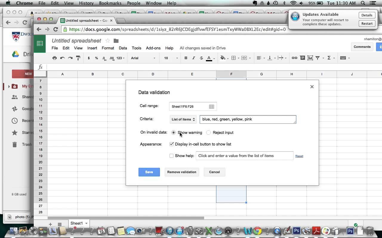 google chrome spreadsheet