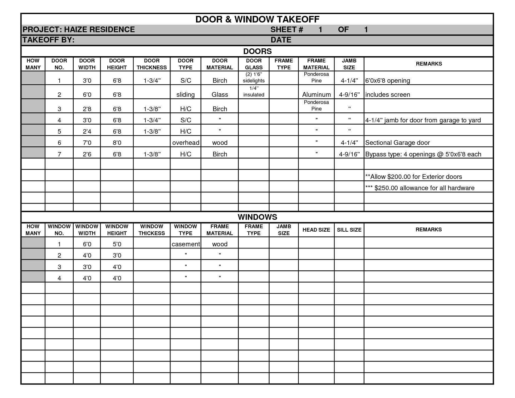 home construction cost estimate spreadsheet