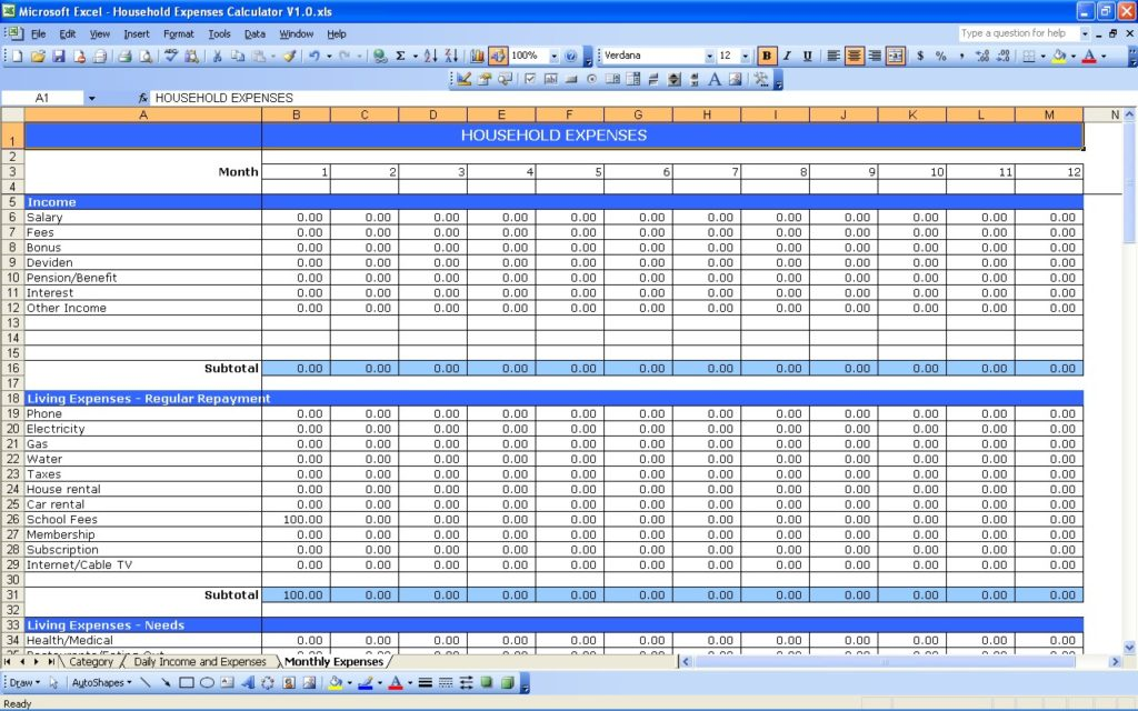 personal financial spreadsheet templates