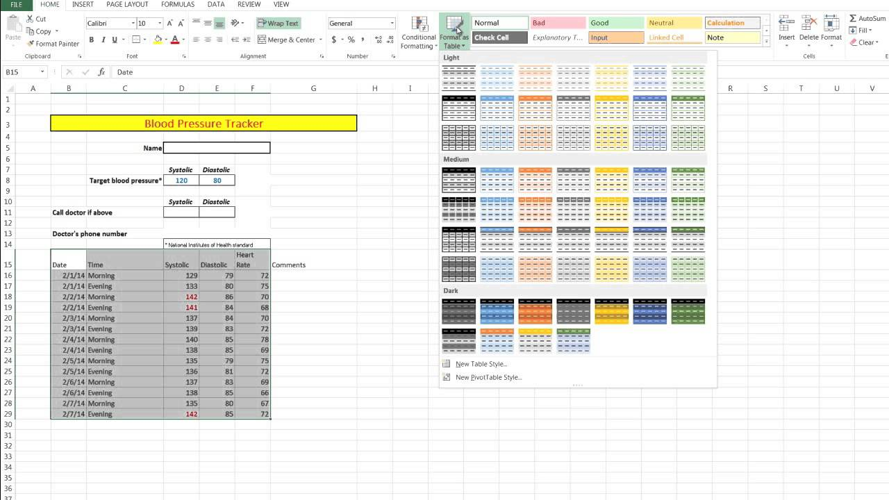templates blood pressure spreadsheet