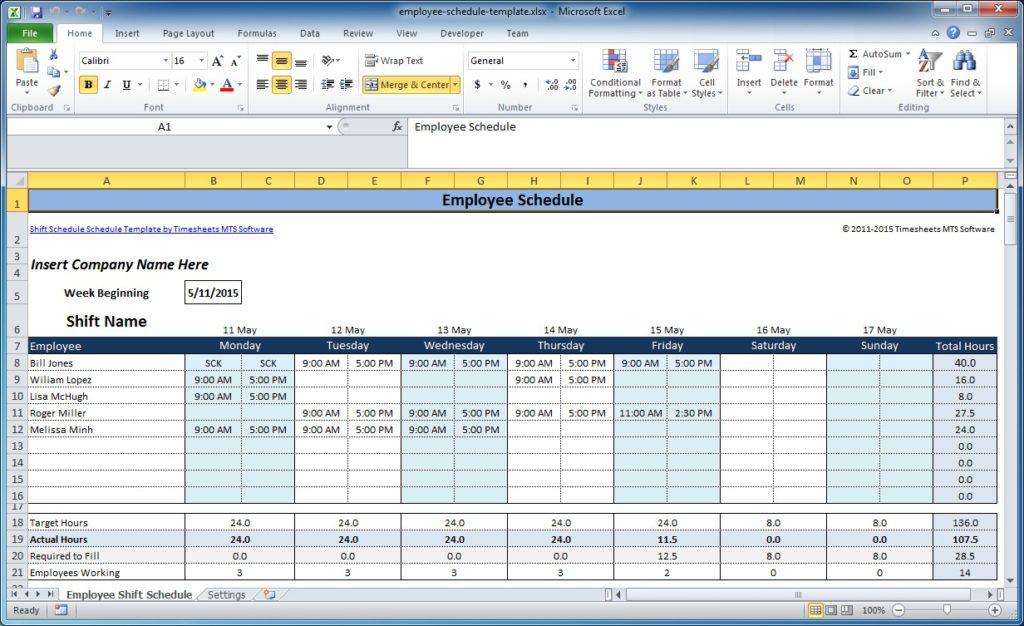 Employee Shift Scheduling Spreadsheet