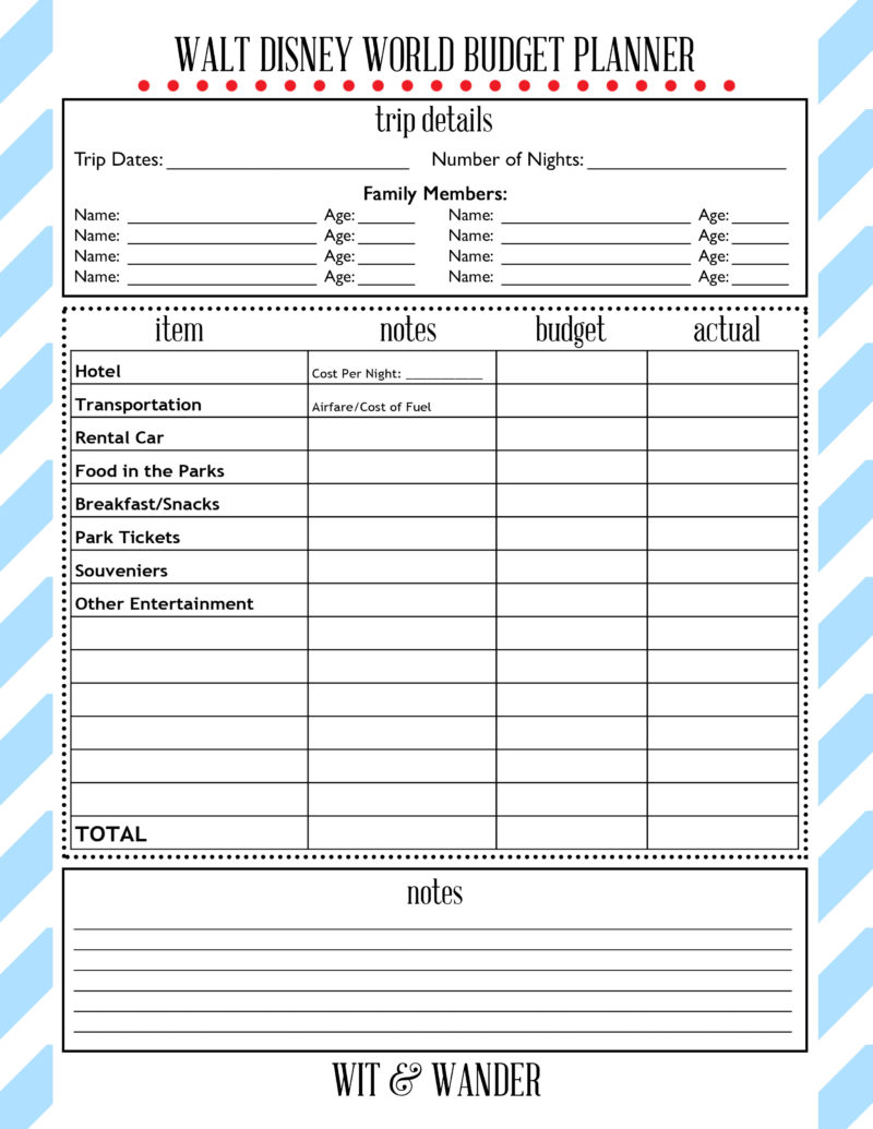 disney planning printables