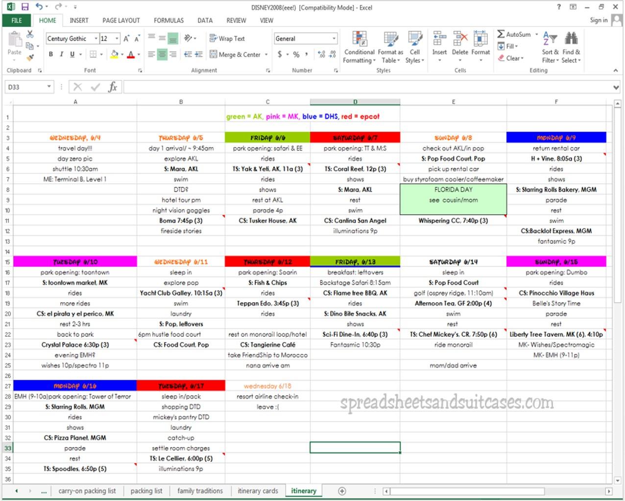 disney trip planner template