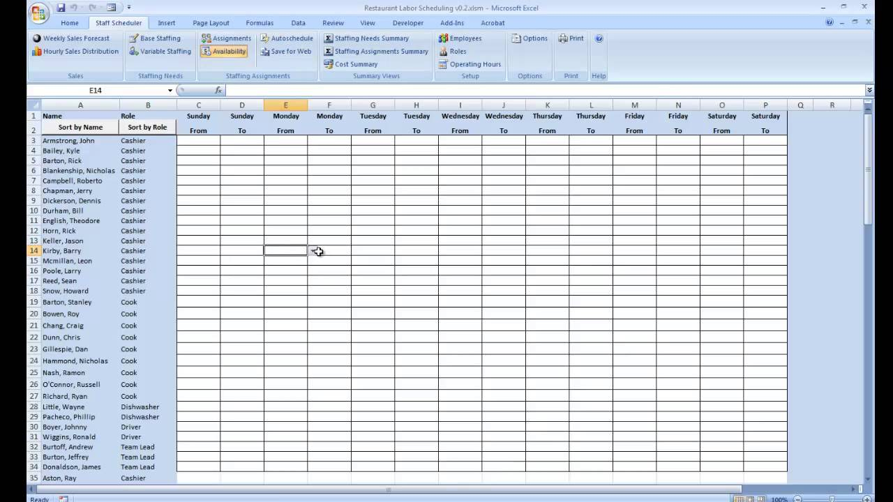 employee schedule excel spreadsheet free