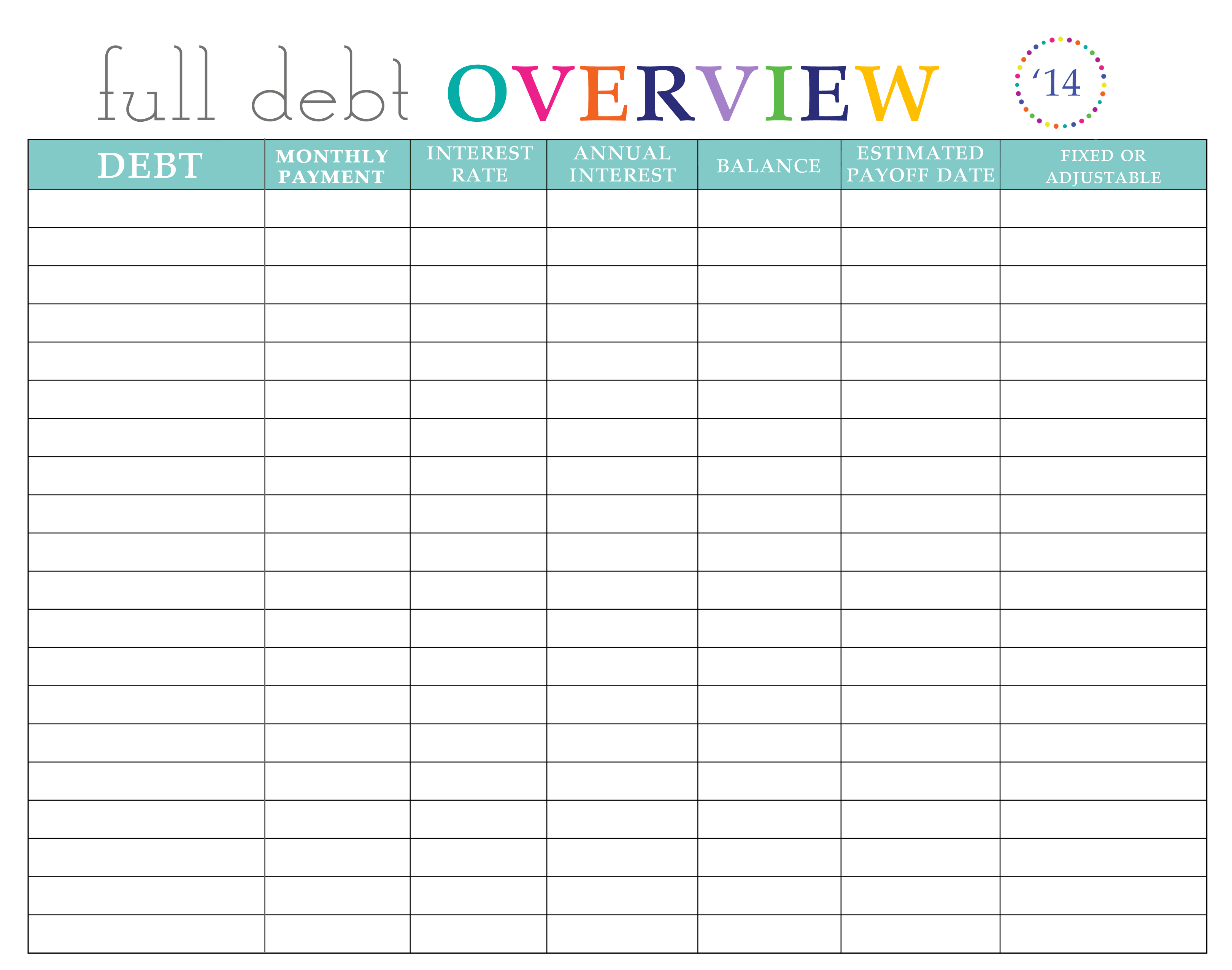 free debt to income spreadsheet templates
