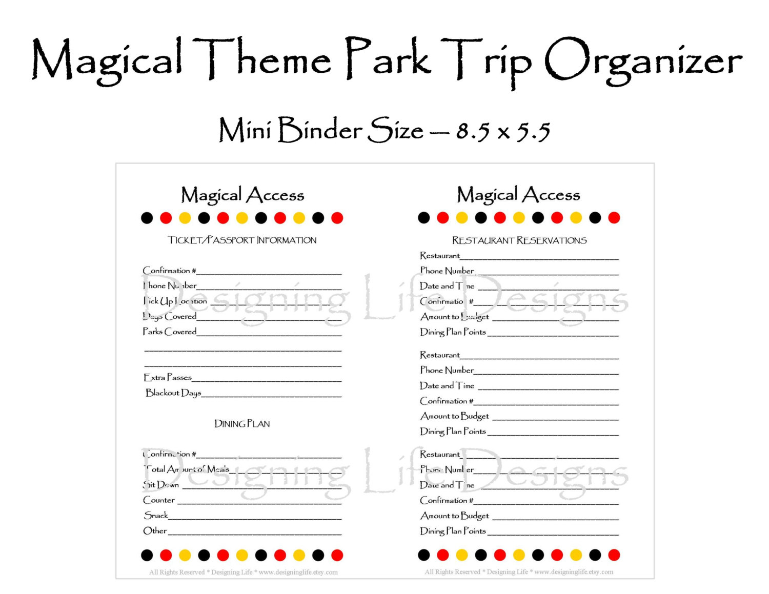 free disney itinerary planne