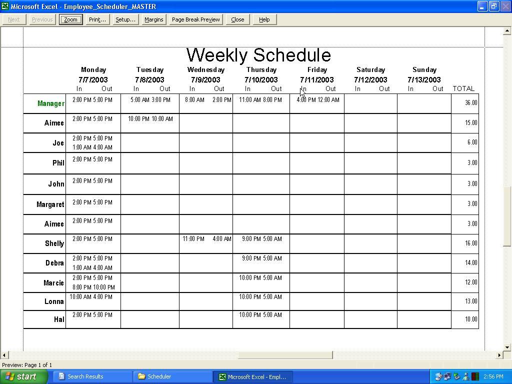 free employee scheduling spreadsheet excel