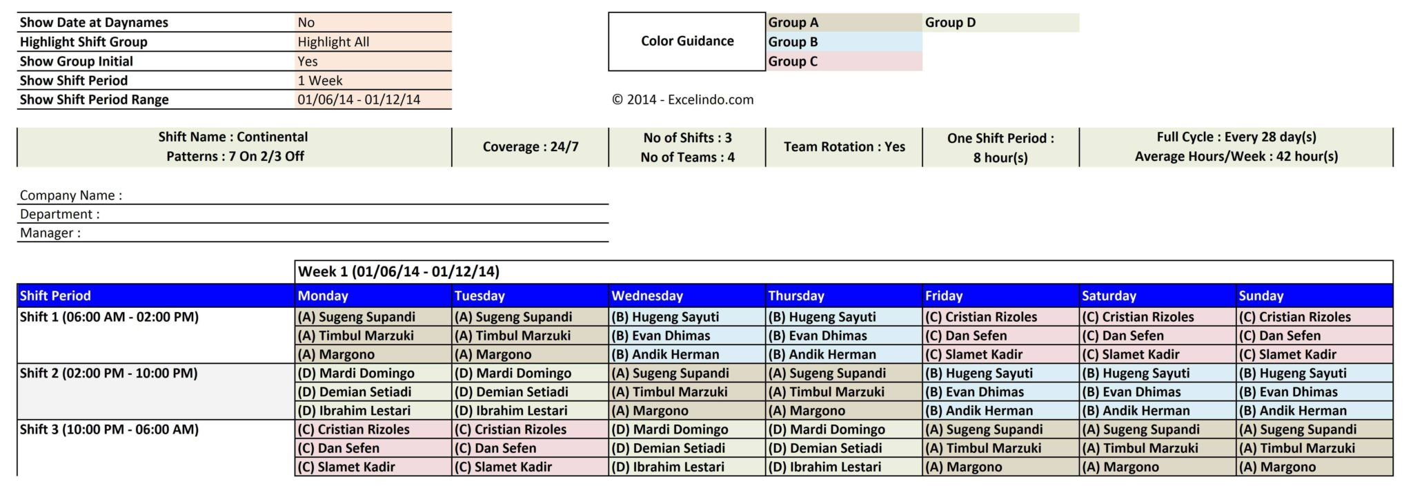 weekly employee shift schedule template free download
