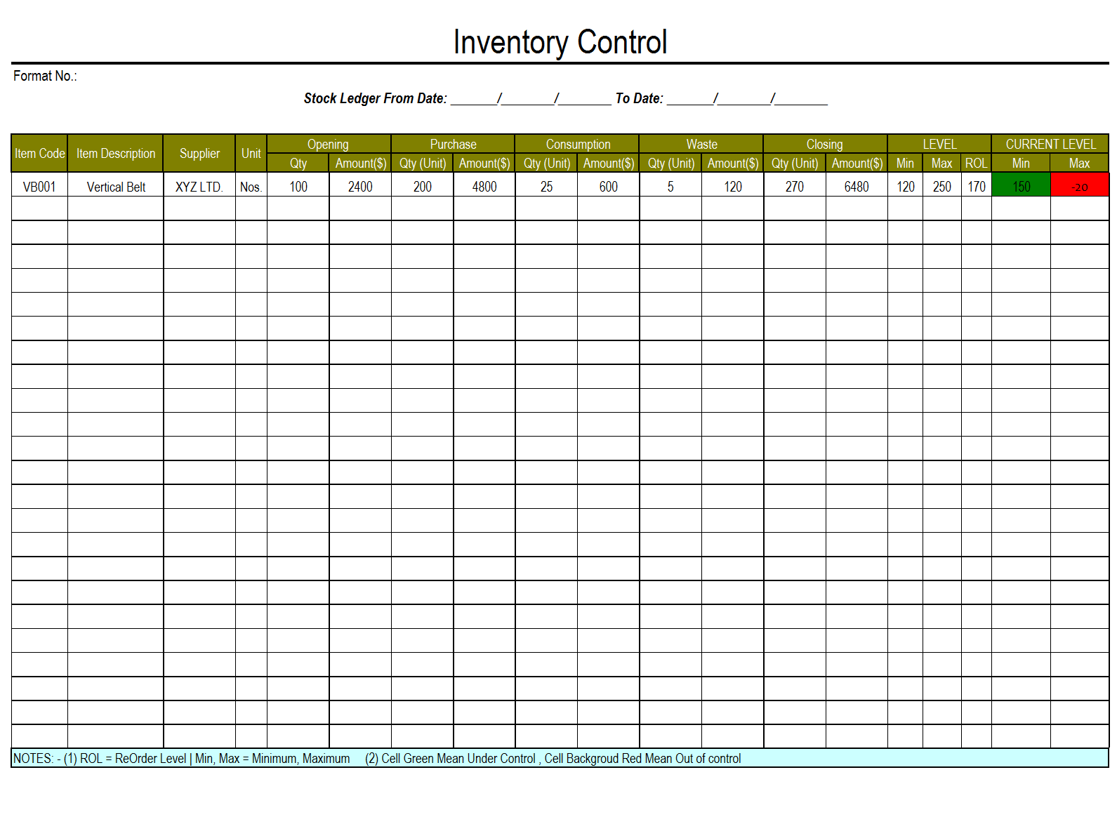 free excel sheet for stock management