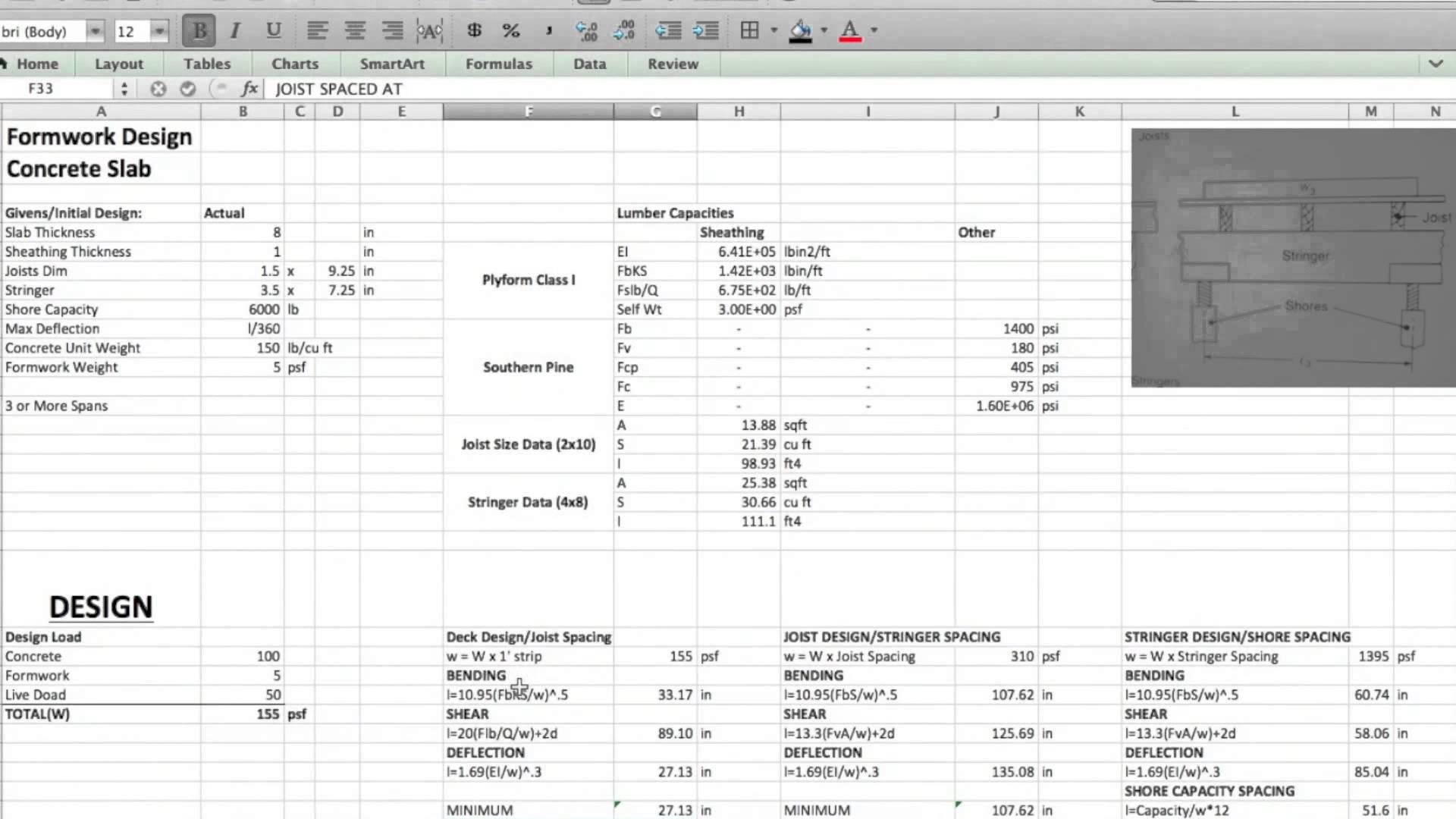 Formwork Design Spreadsheet