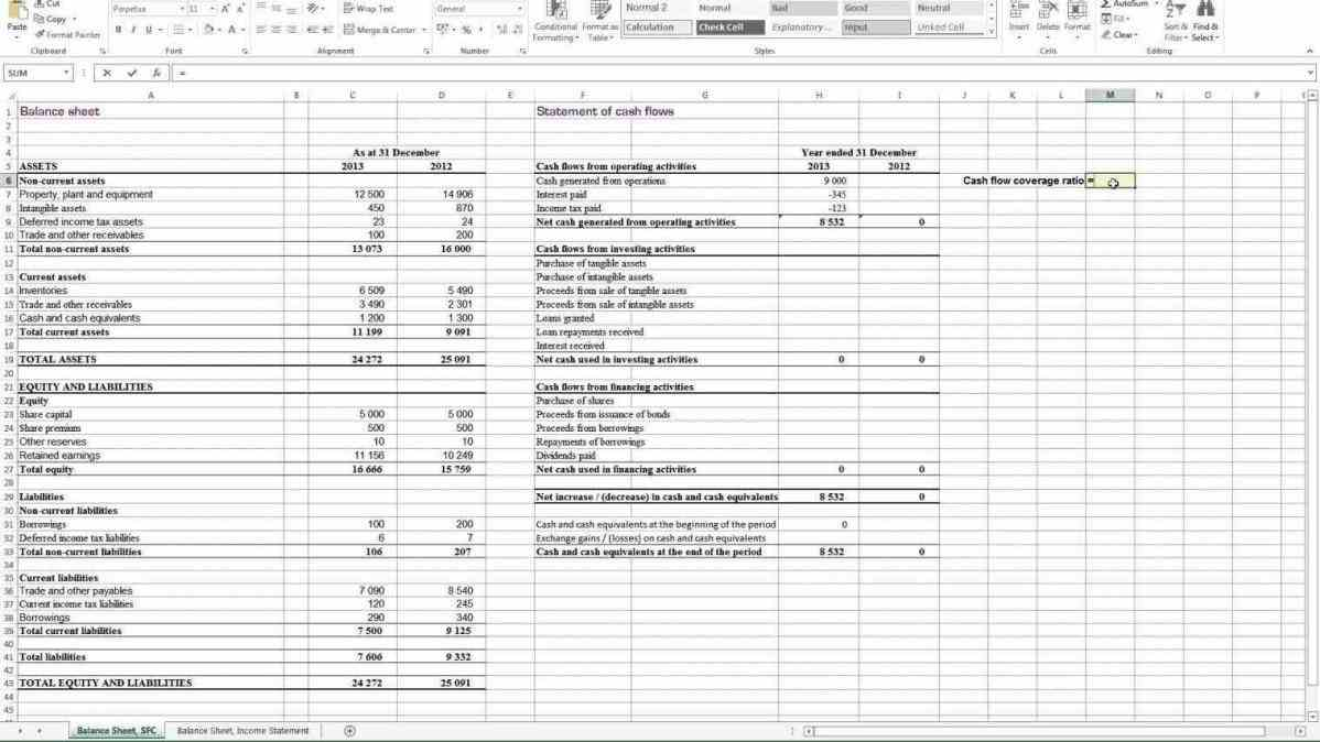 financial ratio analysis spreadsheet