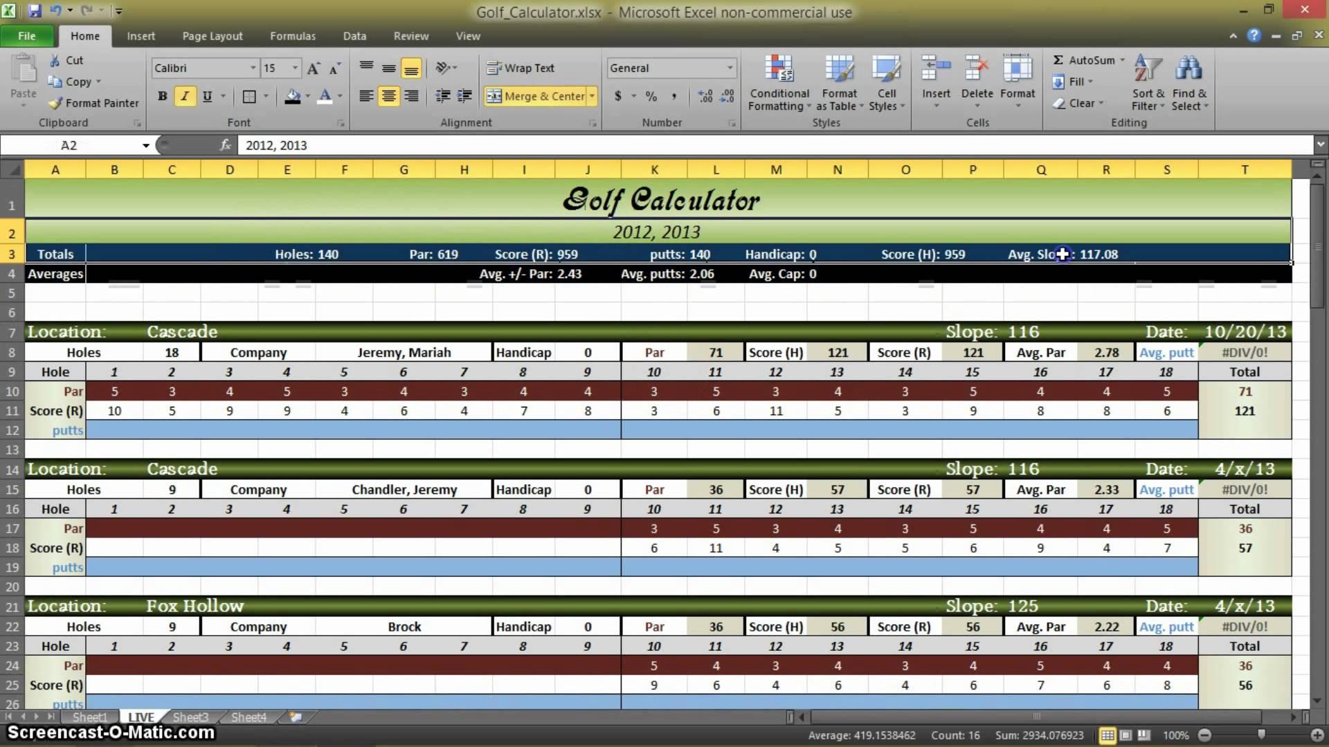 free golf stats spreadsheet