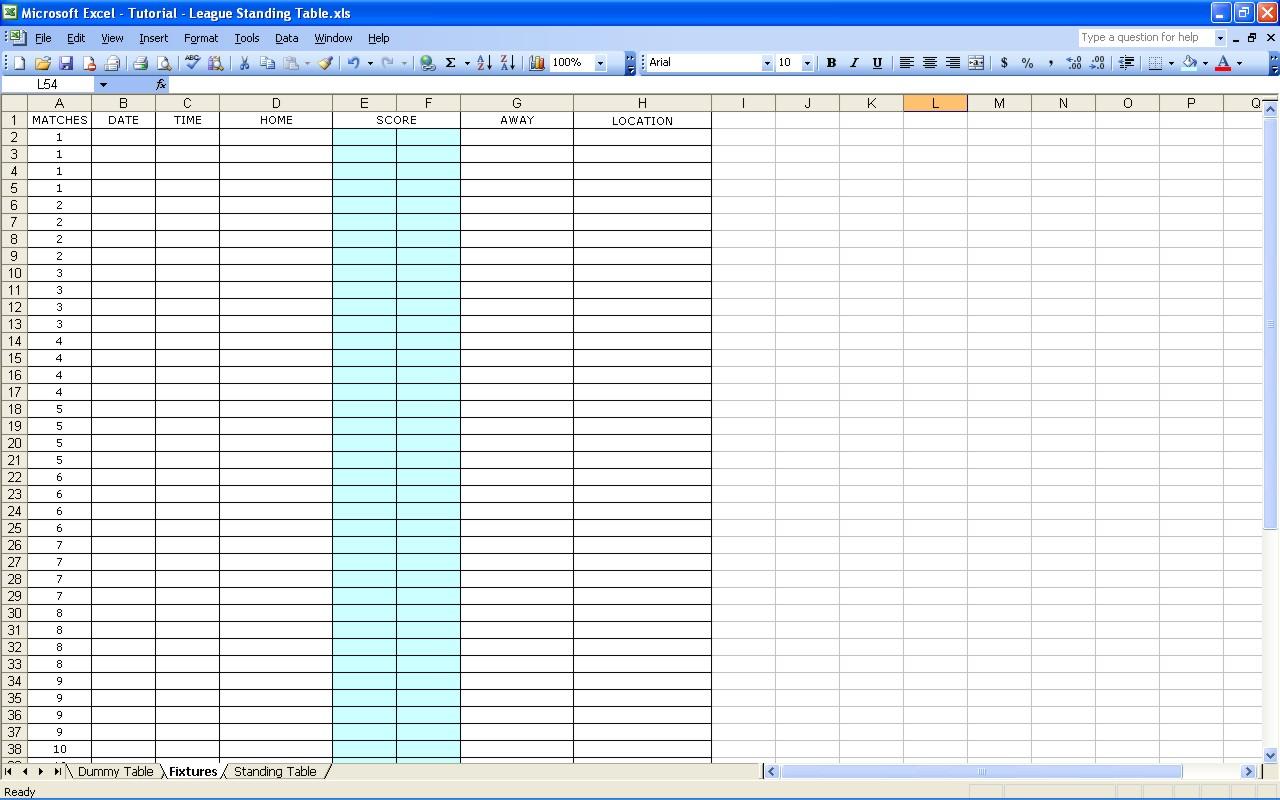 golf score analysis spreadsheet