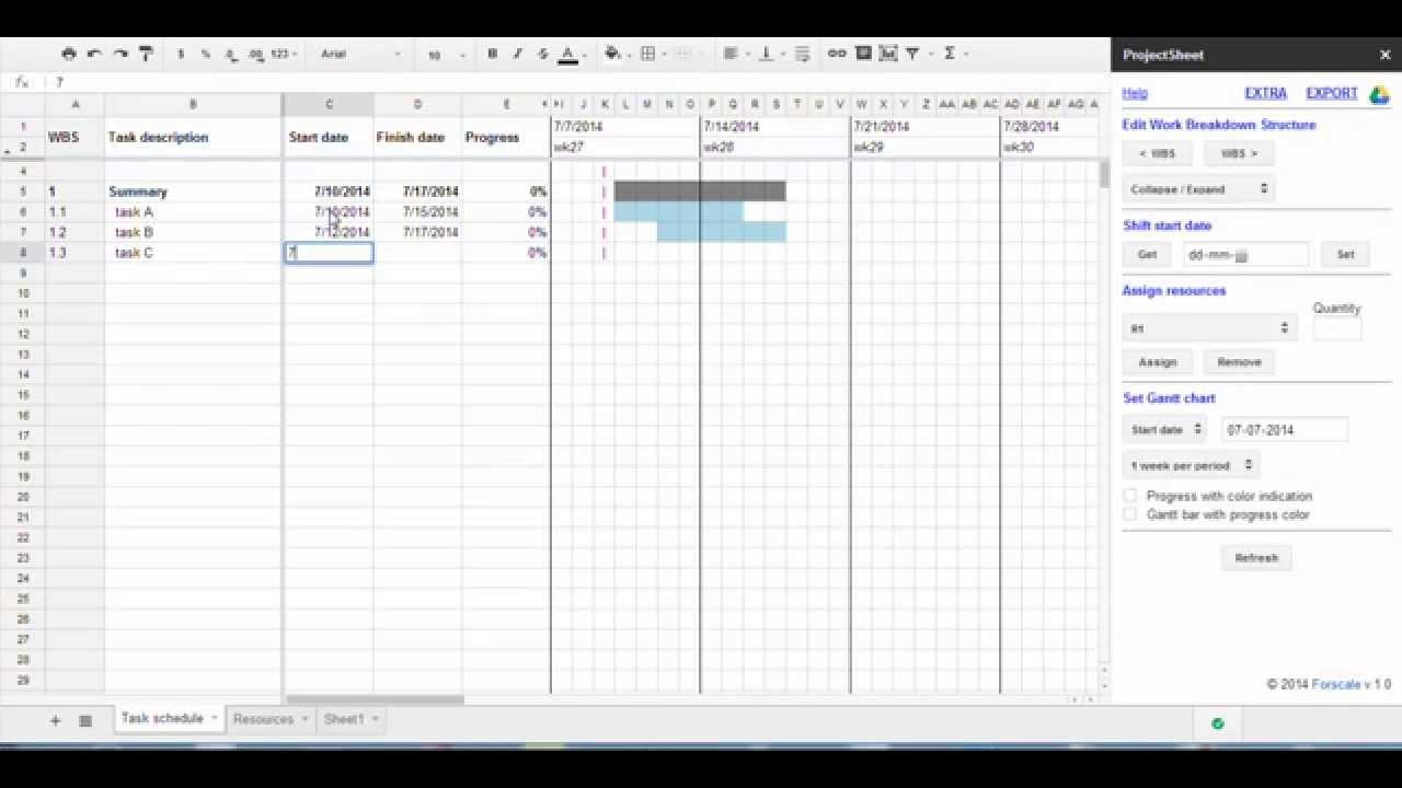 google sheet gantt chart template