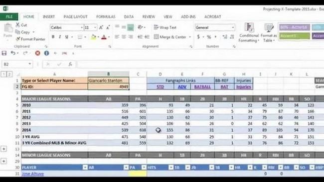 baseball statistics spreadsheet template