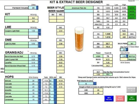 Beer Brewing Excel Spreadsheet