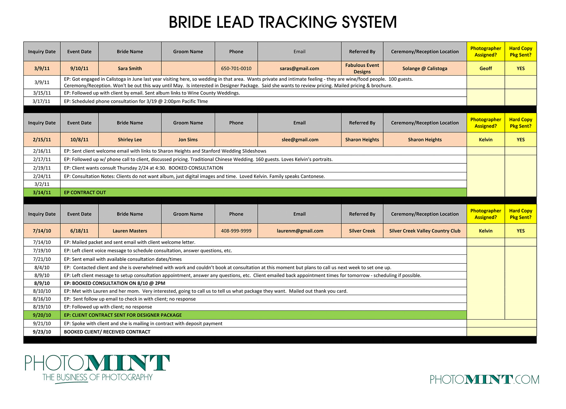Client Tracking Spreadsheet Template