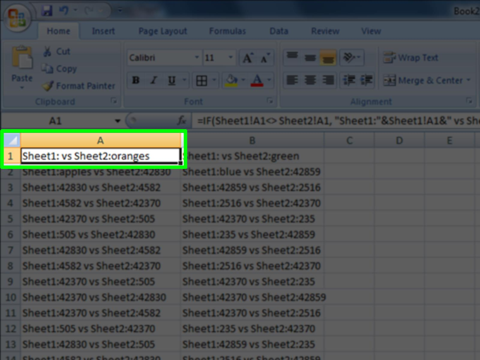 Comparing Two Excel Files 2010