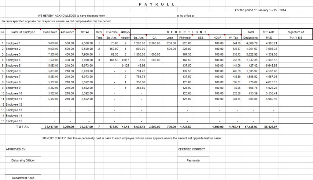 Excel monthly Project timesheet Template numbers