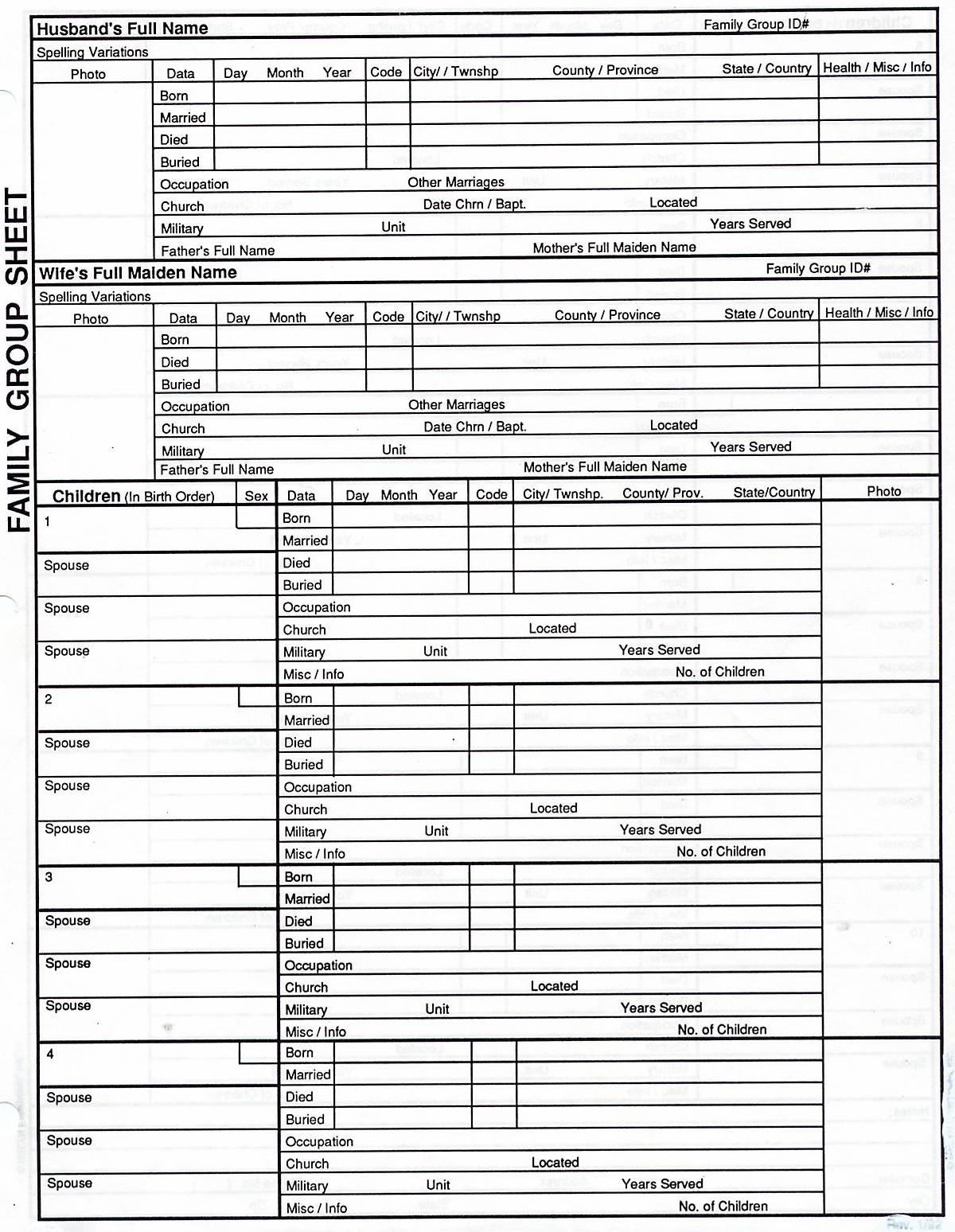 Genealogy Spreadsheet Excel