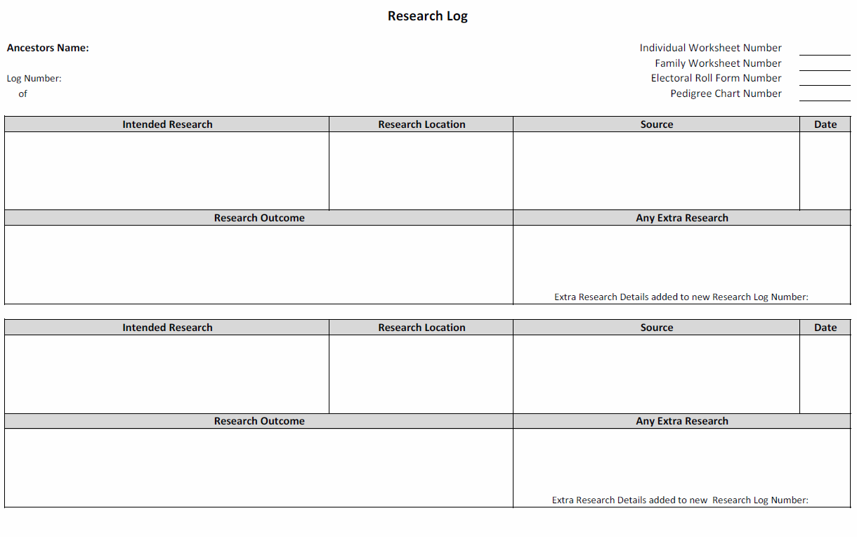 Genealogy Spreadsheets