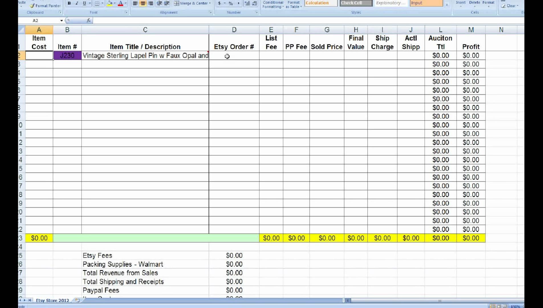Lularoe Inventory Spreadsheet