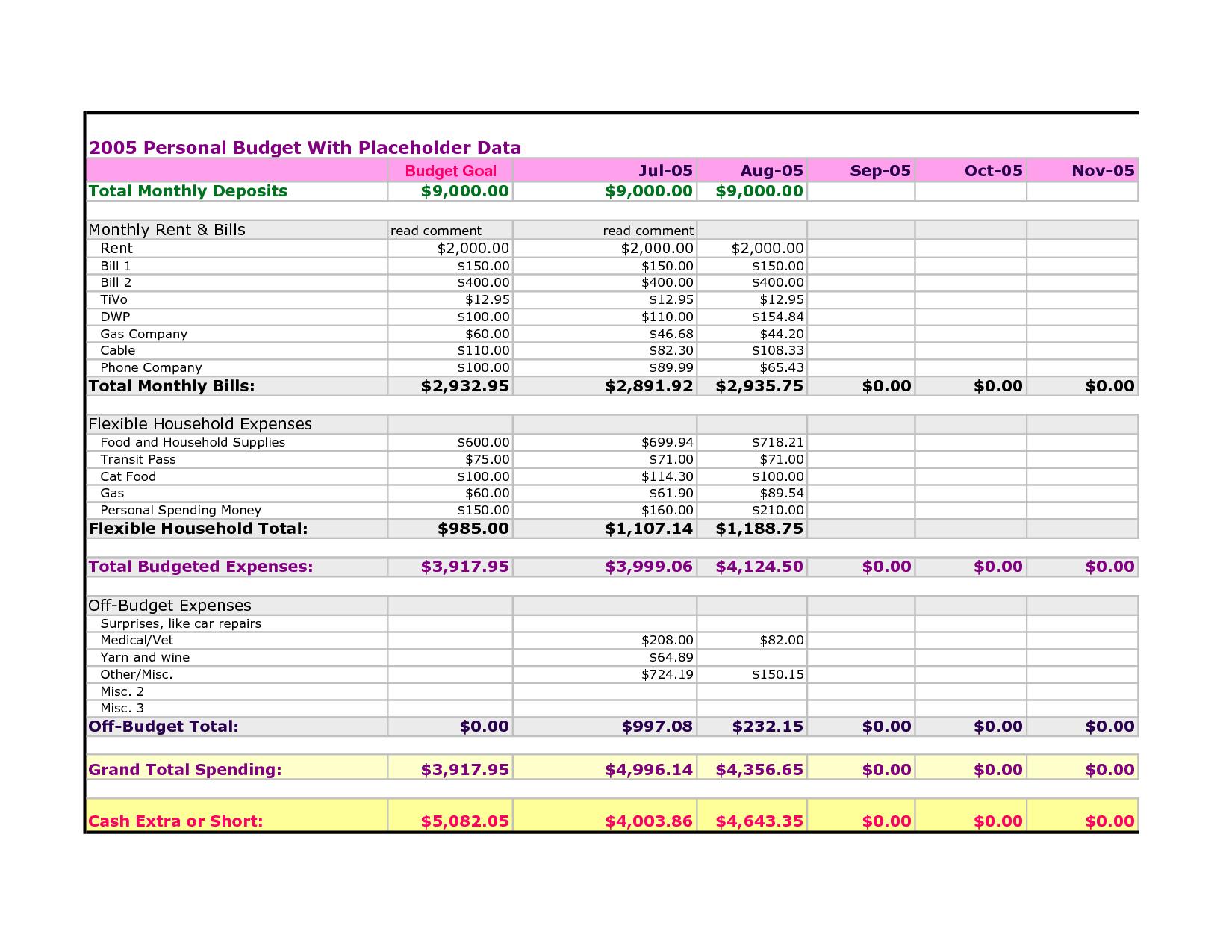 spending plan worksheet excel